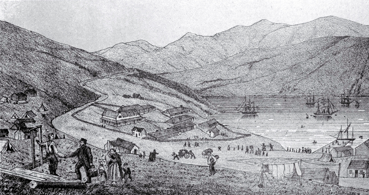 Port Lyttelton, showing the first four ships and emigrants landing from the Cressy, December 28th 1850 [28 Dec. 1850] CCL PhotoCD 10, IMG0017