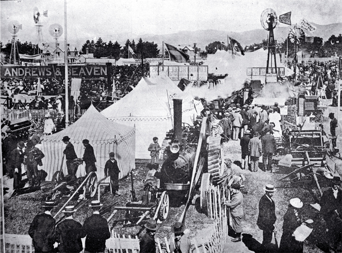 Carnival Week in Christchurch : the implement section of the Canterbury A & P Association's metropolitan show. 1899. Source: The weekly press, 15 Nov. 1899, p. 63 CCL PhotoCD 2, IMG0029
