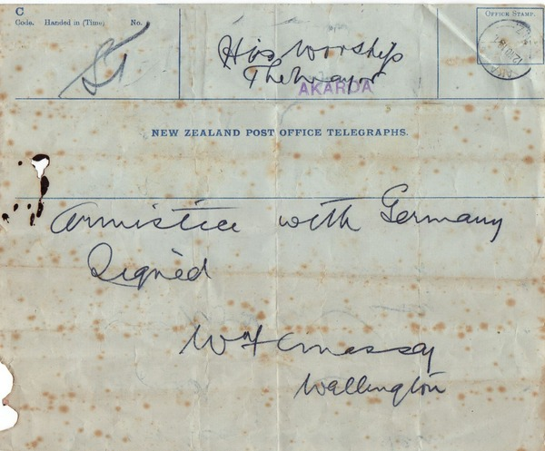 Armistice telegram. Kete Christchurch