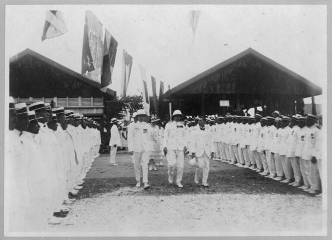 Guard of honour of returned soldiers, Avarua, Cook Islands