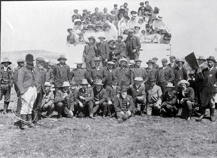The Chatham Islands Jockey Club : Thomas Ritchie, President, seated in front, Tame Horomane Rehe (Tommy Solomon) at centre right [1908], CCL PhotoCD 4, IMG0022