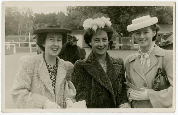 Three friends at Addington races [1930s], Kete Christhurch PH13-259.jpg