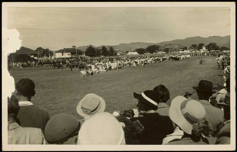 Animal parade, Canterbury A and P Show, Christchurch. Albert James North c.1950. CCL-Arch978-1-008