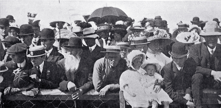 Some of the spectators watching events at the Canterbury Agricultural and Pastoral Association's Metropolitan Show, held at the Addington Showgrounds [Nov. 1910] CCL PhotoCD 18, IMG0023