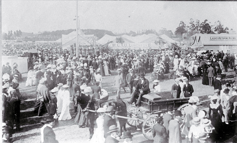 A view of the crowd attending the Canterbury Agricultural and Pastoral Association's Metropolitan Show, held at the Addington Showgrounds [ca. 1910] CCL PhotoCD 14 IMG0027