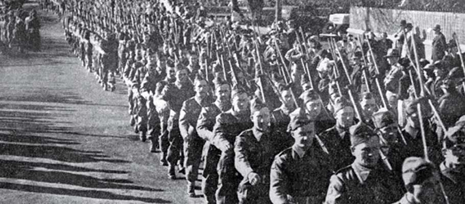 World War II soldiers marching