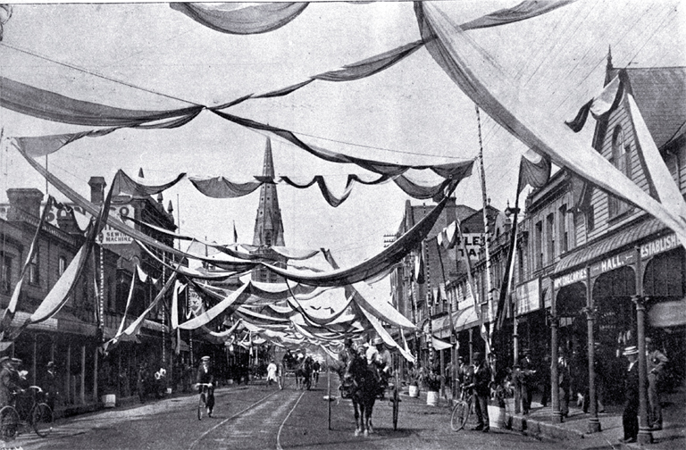 Street decorations for the Canterbury jubilee celebrations in December 1900 shown here in Colombo Street north [1900] CCL PhotoCD 4, IMG0075