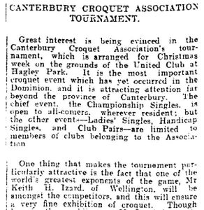 Canterbury Croquet Association Tournament, Press, Volume LXVI, Issue 13914, 13 December 1910
