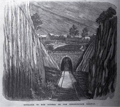 Entrance to a tunnel on the Christchurch railway [ca. 1868]