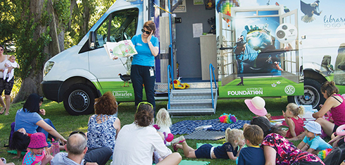 Mobile Library at the Margaret Mahy playground. Tuesday 9, 16, 23, and 30 January 2018.