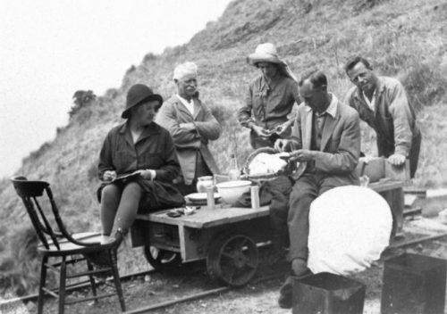 From left; Perrine Moncrieff, Mr Martin, Mrs Claasen, Mr Gourlay, Mr Osborne (?).. Royal Forest and Bird Protection Society of New Zealand :Photographs relating to Perrine Moncrieff. Ref: PAColl-3295-1-10. Alexander Turnbull Library, Wellington, New Zealand. /records/22428306