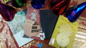 Korean books and party hats